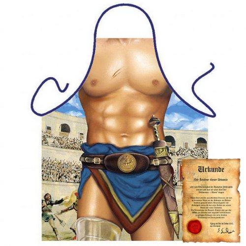 bedruckte Karneval Grillschürze - sexy Motiv: New Gladiator - lustige Fasching Party Koch Schürze Fastnacht (Kind Kostüm Gladiator)