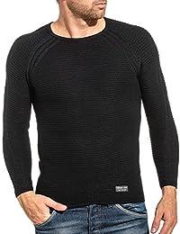 BLZ jeans - Pullover homme basic noir maille côtelé