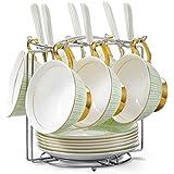 Panbado Service à Café Thé Tasse en Porcelaine Fine avec Sous-tasse Cuillère(14.5cm) Pois Vert 200ml Cadeau Fête Mariage Maison (6 Sets Tasse à Thé avec 1 Porte-tasse)