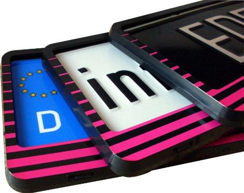 EDELSIGN - 2 x DESIGN Nummernschildhalter MIAMI + 4x Chrom Valve Caps
