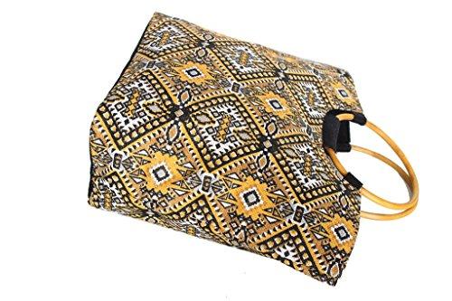 Borsa mare Gian Marco Venturi donna moda mare l.etnica manici legno 44350 giallo