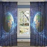 COOSUN Planet Erde im Weltraum Schiere Vorhang Panels Tüll Polyester Voile Fenster Behandlung Panel Vorhänge für Schlafzimmer Wohnzimmer Wohnkultur, 55 x 84 Zoll, 2 Panels Set