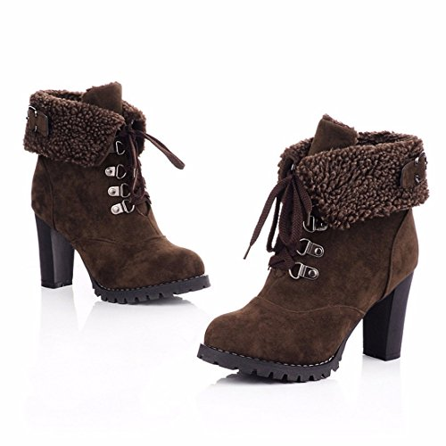 Autumn and winter high heels boots boots boots Martin retro cotton bandage brown