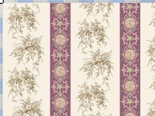 Tessuto da tappezzeria, rivestimento in tessuto, tessuto da tappezzeria, tessuto, tessuto della tenda, tessuto - Angelina - crema bianco toile de Jouy in tessuto con un motivo romantico stampa & banda - Toile Banda