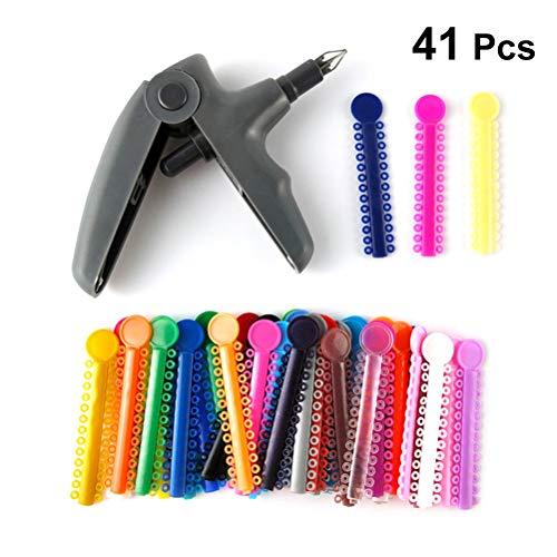 Healefty 40PS - Lazos dentales ortodontológicos de ligadura de colores mixtos con mango de mano