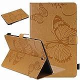 Laybomo Hülle für für Samsung Galaxy Tab A 9.7 / T550 T555 Ledertasche Schutzhülle TPU Silikon Cover Tasche Magnetisch Auto Schlaf/Wach und Standfunktion Schale, Schmetterling (Braun)