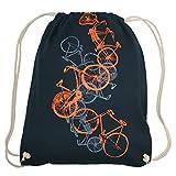 Turnbeutel Fahrräder, Hipster Beutel, Tragetasche, Gymsac, Stringbag, Drawstring, Jutebeutel, Tasche, Rucksack, Handsiebdruck, navy, orange