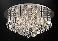 Modern Elegant Round Chandelier Ceiling Light Crystal Effect Droplets Simply Stunning Includes 4 LED Bulbs Warm White by Long Life Lamp Company