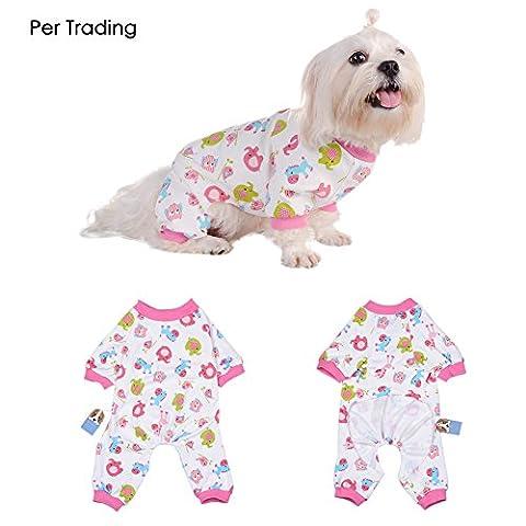 Per Hunde/Katze Pyjamas mit Niedlich Tierisches Muster und Four Feet Design, Weich Alle Jahreszeiten Haustier Schlafanzug Jacken für Kleine und Mittelgroße Hunde - Rosa,XS/S/M/L/XL