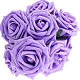 10x künstliche Schaum Rosen, BDM Foamrosen Schaumrosen Schaumköpfe Künstliche Blume Rosa Brautstrauß Dekor Pulver Blumen-Bouquet Hochzeit Party Violett