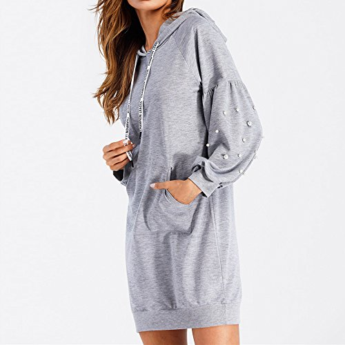 Vertvie Femme Sweat-Shirt Robe à Capuche Manches Lanterne Sweat Jumper Sport Hauts Tops Pullover Blouse Casual avec Perles Gris Clair