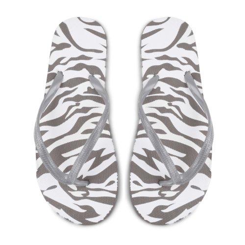 Footwear Sensation , Damen Dusch- & Badeschuhe Schwarz schwarz Zebra Silver