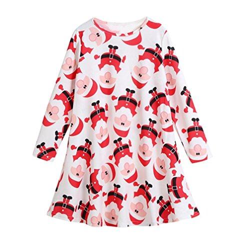 Longra Kinder Mädchen Kleidung Festlich Weihnachten Kleid Weihnachtskostüm Mädchen Kleider Langarm Party Prinzessin Kleid (White, 130CM 7Jahre) (T Stretch-spitze Knit)