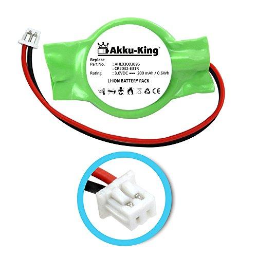 Akku-King Backup, CMOS Knopfzelle mit Stecker für HP Pavilion DV6000, DV6100, DV9000, Presario V6000 - ersetzt AHL03003095, CR2032-2E31R - Li-Ion 200mAh - Backup-batterie Hp Für Laptop