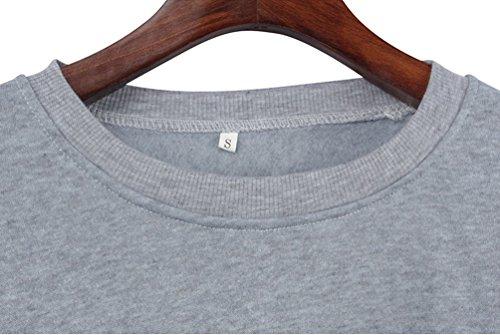YiLianDa Femmes Casual Blouse à manches longues Lettre Print Sweatshirt Gris