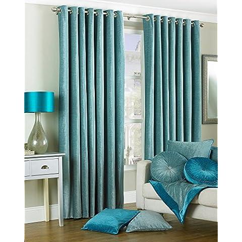 Chenille Curtain Ring Top in velluto con rivestimento interno, colore: blu uovo di pettirosso, 168 cm x 183 cm