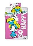 Unbekannt Faro Original Disney die Schlümpfe The Smurfs Bettwäsche Bettgarnitur 160x200 Öko Tex Baumwolle, Mehrfarben, 200 x 160 cm