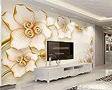 HONGYUANZHANG Benutzerdefinierte Tapete Wandbild 3D Geprägtes Juwel Blume Moderne Lilie Blume Tv Hintergrund Wand Tapete Wohnkultur Behang,110cm (H) X 190cm (W)