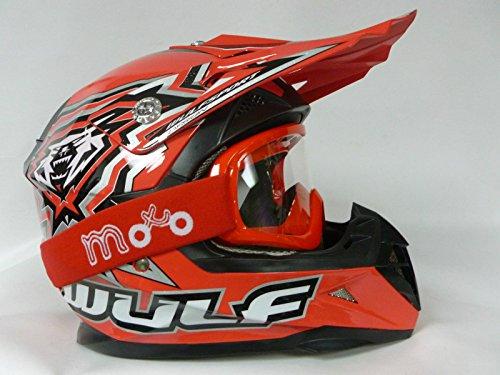 Caschi Bambini moto ~ WULF FLITE XTRA Casco Bambini Moto Scooter Quad Off Road Casco Motocross Racing Enduro, Rosso + occhiali (L)