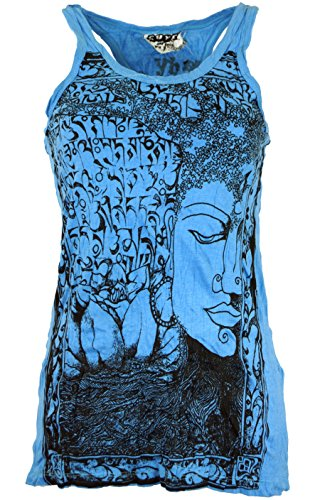 Guru-Shop Sure Tank Top Buddha, Damen, Hellblau, Baumwolle, Size:L (40), Bedrucktes Shirt Alternative Bekleidung - Crinkle-tank-top