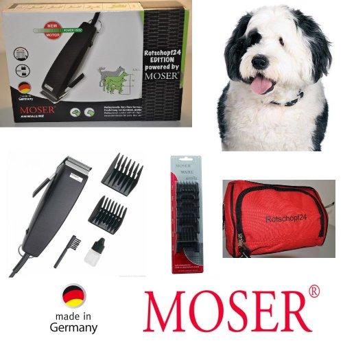 M0SER Profi Hundeschermaschine + 6 Kunststoffaufsteckkämme: Rotschopf24 Edition! (40060)