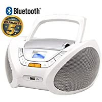 Lauson CP450-Radio CD Portatile, USB, Bluetooth, Lettore CD Bambini, Stereo Radio FM, Boombox, CD, MP3 Player, AUX In, LCD-Display, Bianco