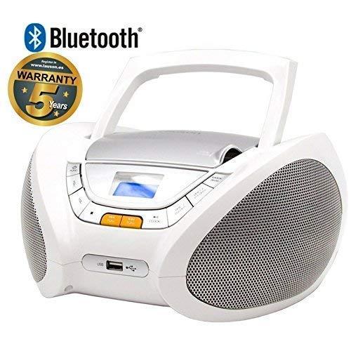 Lauson Radio CD Portatile Bluetooth | USB | Lettore Cd Bambini | Stereo Radio FM | Boombox | CD/MP3 Player | AUX IN | LCD-Display | CP450 (Bianco)
