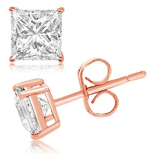 Rosa ha placcato Argento Sterling 9 millimetri Principessa Cubic Zirconia gemma Orecchini - Rosa Ha Placcato Argento