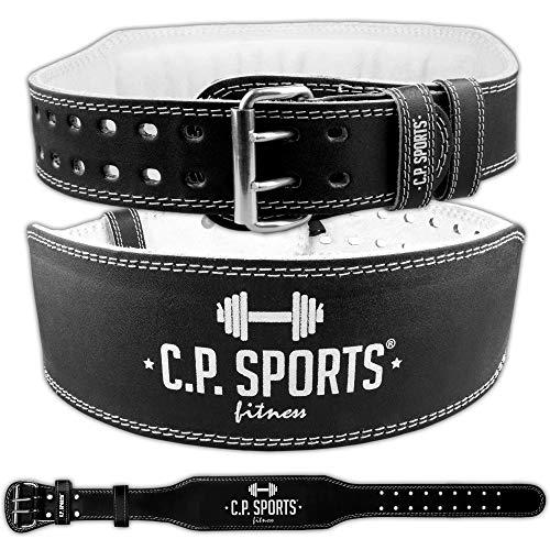 C.P. Sports Gewichthebergürtel Leder schwarz, Trainingsgürtel mit Größentabelle (M)