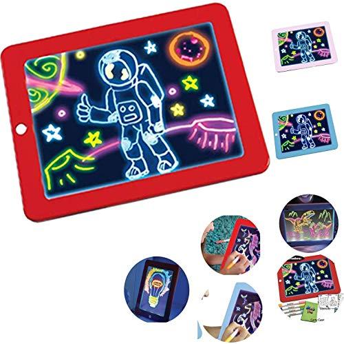 Junenoma Magia LED del Giocattolo del Rilievo Cancellabile Schizzo Scrittura A Mano Tablet Regalo Multiplo Effetto Glow per Bambini di Disegno A Scuola E più di Viaggio dai 3 Anni in su R
