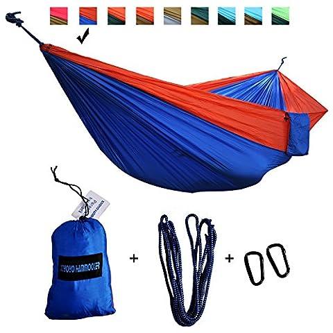 Doppel-Parachute Camping Hängematte von xiyoyo Tree Freundlicher Seilen Max 661LB Breaking Kapazität 299,7x 200,7cm leicht Karabiner Seile im lieferumfang enthalten