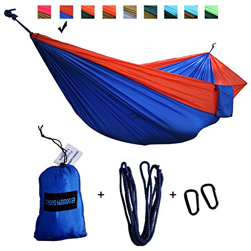 Double Parachute Hamac Camping par Xiyoyo Arbre Friendly Cordes Max 299,8 kilogram Breaking Capacité 299,7 x 200,7 cm léger mousquetons Cordes fournis Orange/Royal Blue