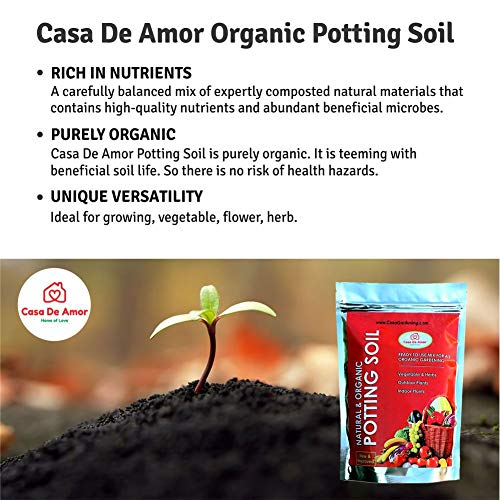 Casa De Amor Natural Potting Soil Mix with Organic Fertilizer for Flowers, Vegetables and Air Purifier Plants, 25 KG