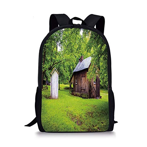 ,Spring Time Forest Leaves with Outhouse Little Cottage Art Photo,Fern Green and Dark Brown for Boys&Girls Mens Sport Daypack ()