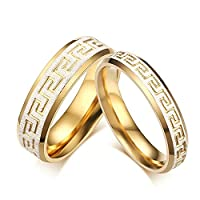 Onefeart Womens Stainless Steel Ring Men Wedding Band,Great Wall Matte Finished 6MM Size V 1/2 Boys Ring