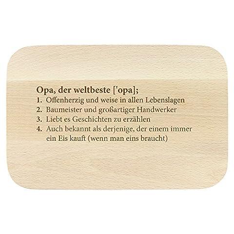 """Frühstücksbrettchen – mit Gravur für Großväter – """"Definition Opa"""" – Standard - Brettchen als Geschenk zum Geburtstag und Weihnachten- ca. 23 x 15 x 1 cm"""