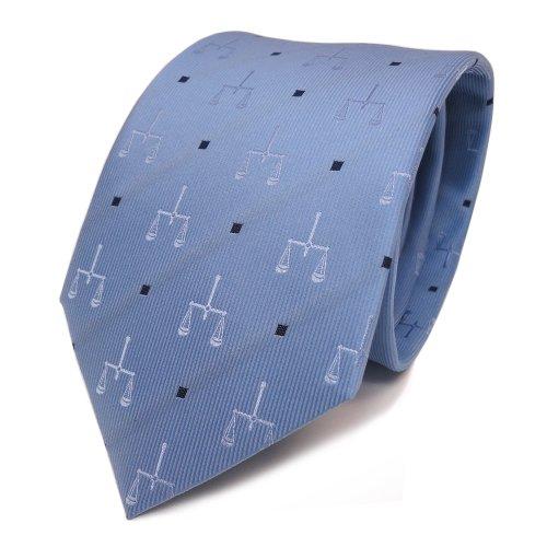 Preisvergleich Produktbild Schicke Designer Seidenkrawatte blau hellblau dunkelblau gepunktet mit Motiv Waage - Krawatte Seide Tie