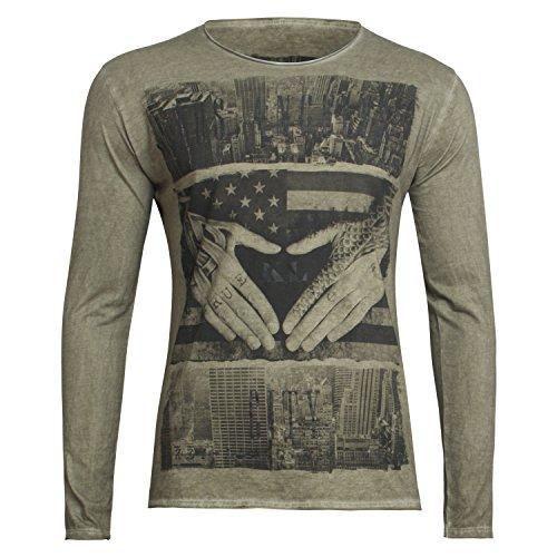 Langarm Shirt - L.A Round - von Key Largo - Modell MLS0001 Herbst Winter mit Los Angeles Motiv für Herren mil.green