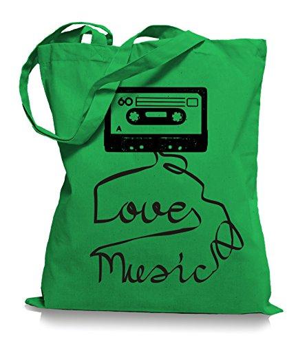 Ma2ca® Loves Music - Jutebeutel Stoffbeutel Tragetasche / Bag WM101 Kelly