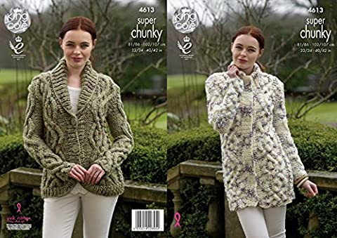 King Cole Ladies Super Chunky Knitting Pattern Womens Cable Knit Cardigan & Coatigan (4613)