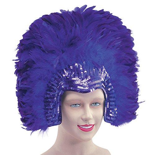Bristol Novelty Novelty-BA636 BA636 Coiffe de Carnaval Deluxe avec Plumes, Couleur Violet, Femme, taille unique