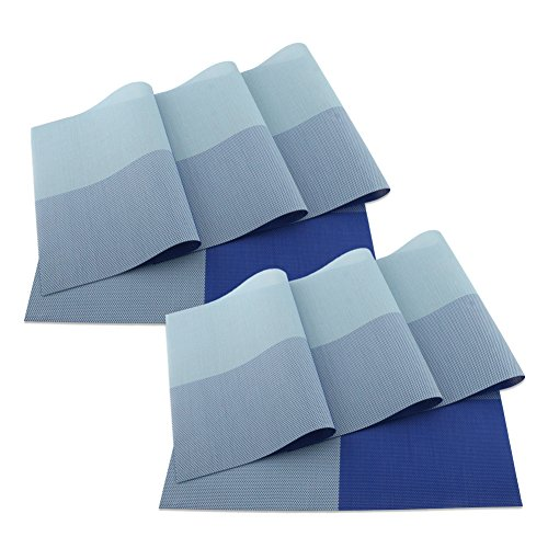 SueH Design Juego de Manteles Individuales de 8 Unidades Azul en PVC...