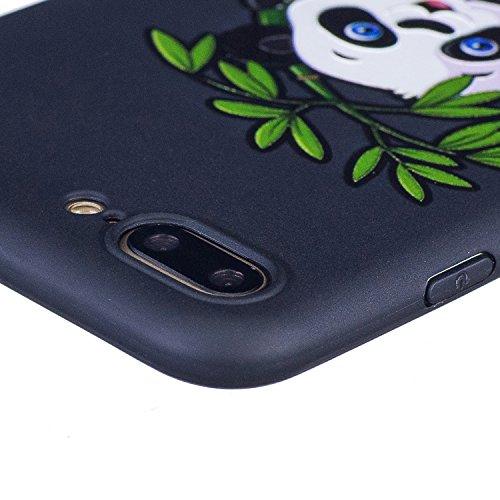 Coque iPhone 7 Plus, Étui iPhone 7 Plus, iPhone 7 Plus Case, ikasus® Coque iPhone 7 Plus Housse Papillon Panda Hibou Fleur Modèle Couleur peinte Doux TPU Silicone Étui Housse Téléphone Couverture TPU  Panda et bambou