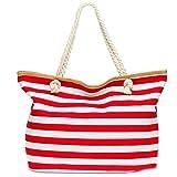 CASPAR TS1025 große XXL Damen Marine Strandtasche/Shopper mit klassisch maritimen Streifen Block Muster, Farbe:rot;Größe:One Size
