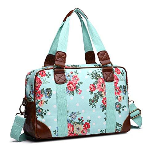 mit Blumen Blau Reisetasche Punkten Damen und wfvY1xEq