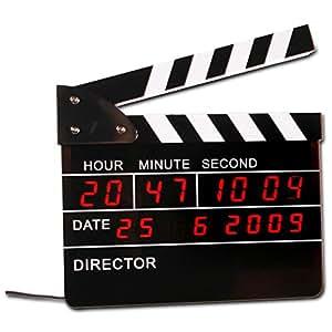 Horloge digitale Clap de cinéma affichage heure et date