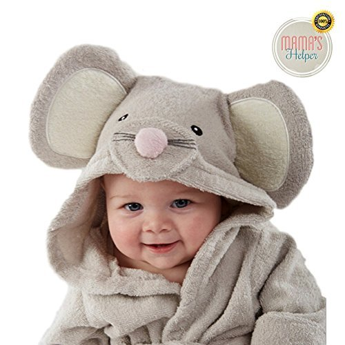 Premium Baby Hooded Bath Robe by Mama's Helper   Perfect Baby Gifts   Give Baby Security and Protection