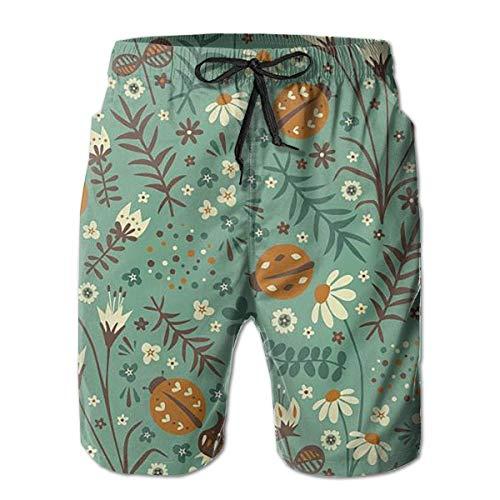 DLing Herren Badehose Scarab Käfer in Blumen Quick Dry Beach Board Shorts,M