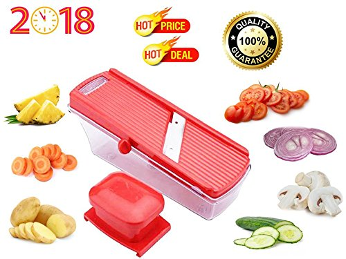 Apex Multipurpose Dry Fruit, Fruit & Vegetable Cutter Slicer with safety holder and Container in Red Colour, Manual Stainless Steel Blade Vegetable Cutter and Slicer For Kitchen/Home at Best Quality on Low Price  available at amazon for Rs.180