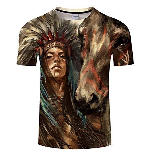 Kurzärmliges T-Shirt mit Persönlichkeitsmusterdruck Loses Herren-T-Shirt mit rundem Halsausschnitt TX507 XXXL -